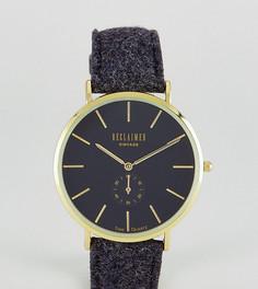 Часы с черным шерстяным ремешком и дополнительным циферблатом Reclaimed Vintage Inspired эксклюзивно для ASOS - Черный