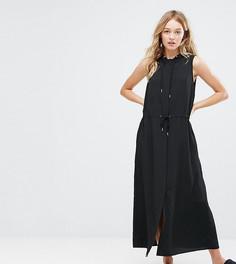 Оверсайз-платье миди с капюшоном Monki - Черный