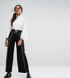 Широкие брюки с контрастной окантовкой Monki - Черный
