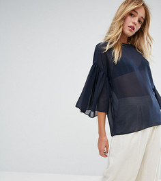 Блузка с оборками на рукавах Monki - Синий