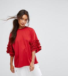 Свободная футболка с оборками Monki - Красный
