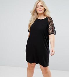 Платье-футболка с кружевными рукавами реглан ASOS CURVE - Черный