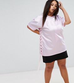 Атласная удлиненная футболка со шнуровкой Puma эксклюзивно для ASOS Plus - Фиолетовый