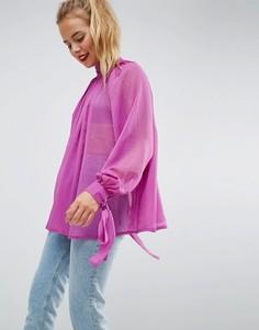 Свободная блузка с высоким воротником ASOS - Фиолетовый