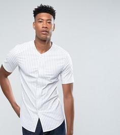 Зауженная рубашка в бейсбольном стиле с полосками ASOS TALL - Темно-синий