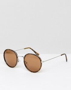Круглые солнцезащитные очки в черепаховой оправе с металлической вставкой ASOS - Коричневый