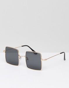 Солнцезащитные очки в квадратной золотистой оправе с затемненными стеклами ASOS - Золотой