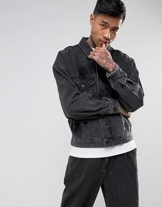 Черная выбеленная джинсовая оверсайз-куртка ASOS - Черный