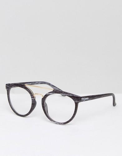 Черные очки в стиле ретро с прозрачными стеклами ASOS - Черный