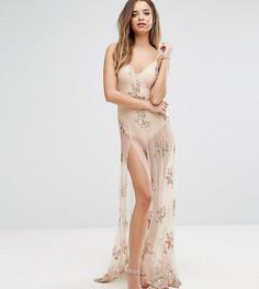 Платье макси с боди и пайетками NaaNaa - Бежевый