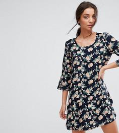 Платье с цветочным принтом и рукавами длиной 3/4 Y.A.S Tall Shanti - Темно-синий