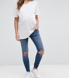 Выбеленные джинсы скинни с рваной отделкой ASOS MATERNITY RIDLEY - Синий