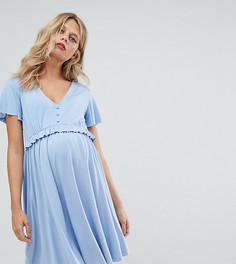 Короткое приталенное платье с рюшами Gebe Maternity Nursing - Синий