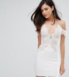 Кружевное облегающее платье мини с открытыми плечами Rare London - Белый