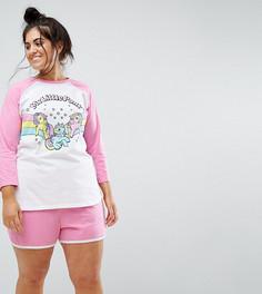 Пижамный комплект My Little Pony с лонгсливом и шортами ASOS CURVE - Мульти