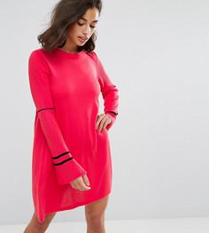 Трикотажное платье с расклешенными рукавами и отделкой в спортивном стиле ASOS PETITE - Розовый