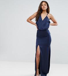 Платье макси на бретельках с драпировкой ASOS TALL - Синий