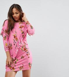 Платье-футболка мини с оборками и цветочным принтом ASOS TALL - Розовый