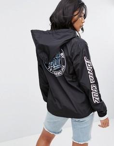 Куртка с капюшоном, молнией 1/2 и логотипом Santa Cruz - Черный