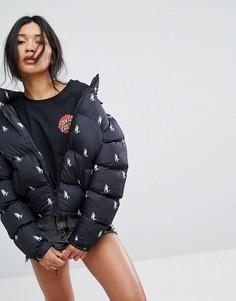Стеганая куртка с принтом Santa Cruz - Черный