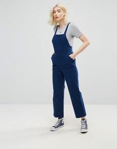 Темно-синий джинсовый комбинезон с перекрестом на спине ASOS - Синий