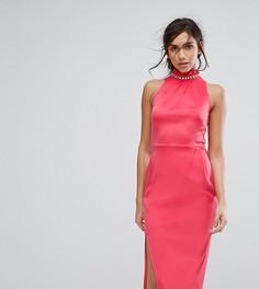 Платье миди с высоким воротом и отделкой Silver Bloom - Оранжевый