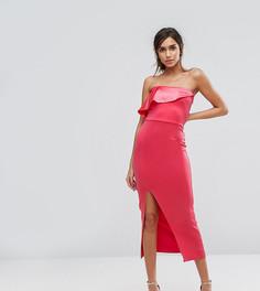 Платье-бандо макси с атласной накладкой Silver Bloom - Оранжевый