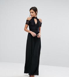 Платье макси с кружевным топом, высоким воротом и открытыми плечами Silver Bloom - Черный