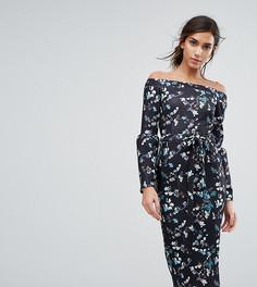 Платье миди со спущенными плечами и цветочным рисунком Silver Bloom - Мульти