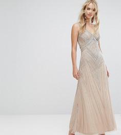 Декорированное платье макси Amelia Rose - Коричневый