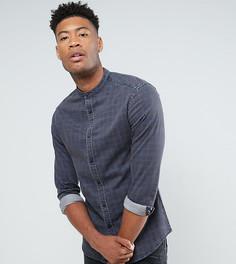 Приталенная джинсовая рубашка в клетку с воротником на пуговице ASOS TALL - Темно-синий