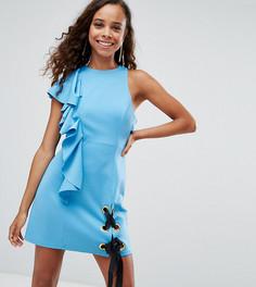 Платье мини с оборкой и шнуровкой ASOS PETITE - Синий