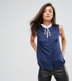 Блузка без рукавов с плиссированным воротником и завязкой Fashion Union Tall - Темно-синий