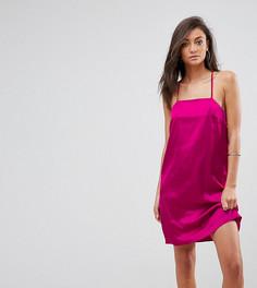 Атласное платье-комбинация Fashion Union Tall - Розовый