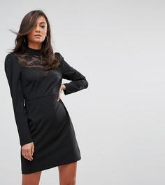 Кружевное платье с длинными рукавами и высоким воротом Fashion Union Tall - Черный