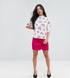 Мини-юбка из премиум-ткани с оборками и сборками Fashion Union Petite - Розовый