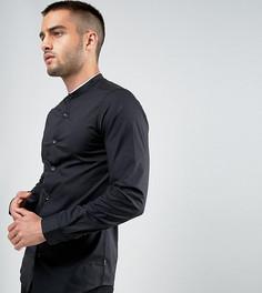 Узкая рубашка с воротником на пуговице и кантом Only & Sons - Черный