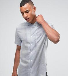 Облегающая рубашка из вискозы в полоску с короткими рукавами Only & Sons - Темно-синий