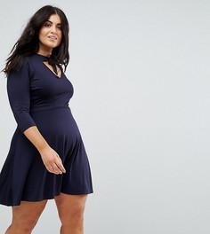 Чайное платье с короткими рукавами и принтом Club L Plus - Темно-синий