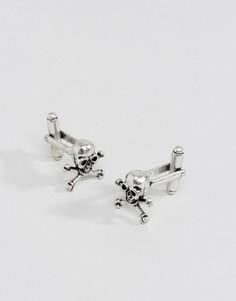 Серебристые запонки в виде черепов ASOS - Серебряный