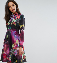 Шифоновое чайное платье с цветочным принтом и бантом Skeena S - Мульти