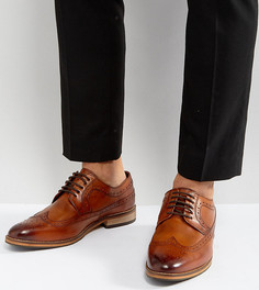 Светло-коричневые кожаные броги для широкой стопы ASOS - Рыжий