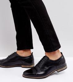 Черные кожаные броги для широкой стопы ASOS - Черный