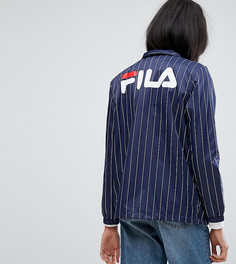 Ветровка в тонкую полоску с логотипом на спине Fila Tall - Темно-синий