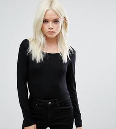 Боди с открытой спиной, длинными рукавами высоким вырезом по бедру в стиле 80-х ASOS PETITE - Черный