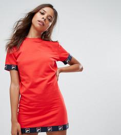 Платье с короткими рукавами и логотипом на канте Fila Petite - Красный