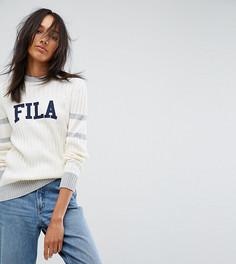 Джемпер в рубчик с контрастными полосками и логотипом Fila Tall - Кремовый