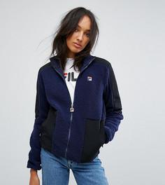 Куртка из искусственного меха с контрастной отделкой Fila Tall - Темно-синий