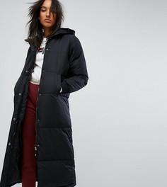 Дутое пальто с капюшоном и логотипом Fila Tall - Черный