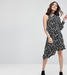 Платье миди в горошек с одним рукавом ASOS PETITE - Черный